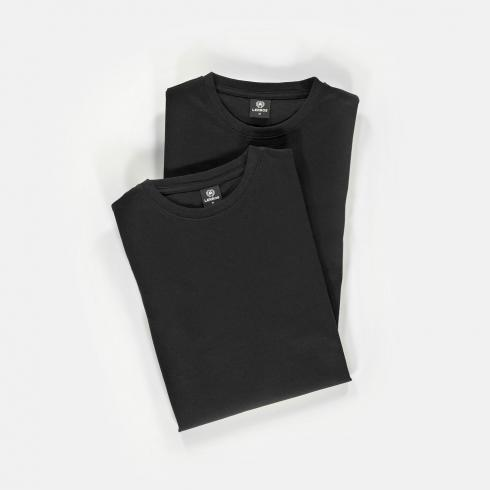 Two-pack t-shirts ronde hals BLACK   S